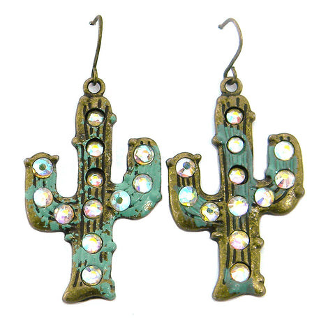 ERE160903-04 PTN    Cacus Motif Earring with AB Crystal
