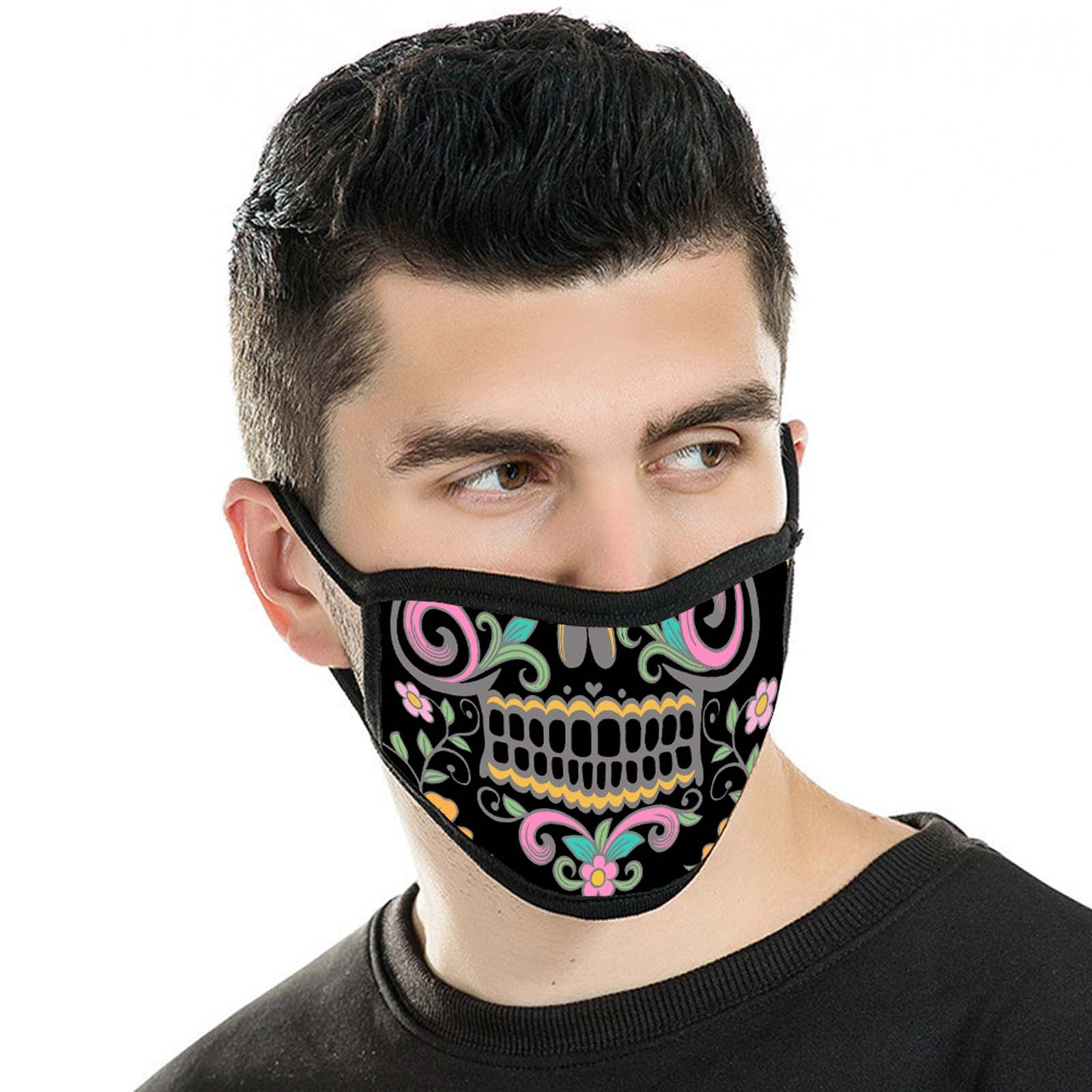 FCM-015 American Bling Black Floral Sugar Skull Fabric Face Mask Double Layer Set of 2