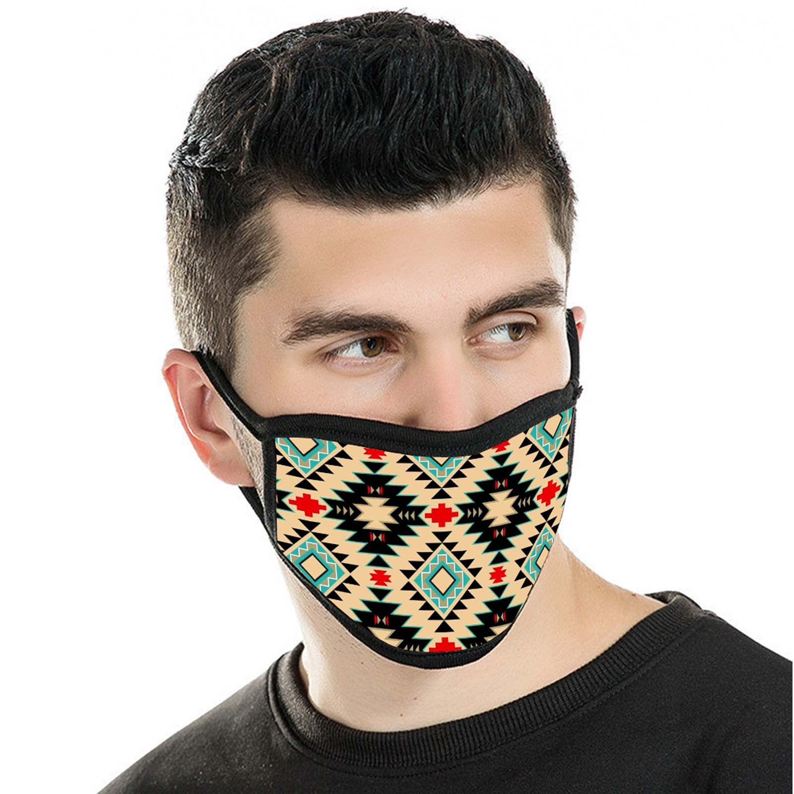 FCM-009 American Bling Tan Aztec Print Fabric Face Mask Double Layer 2PCS