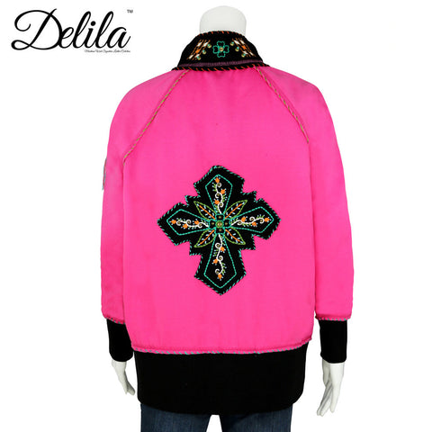 FS-607 Delila Hand Embroidered Fleece Jacket Floral Medallion Collection