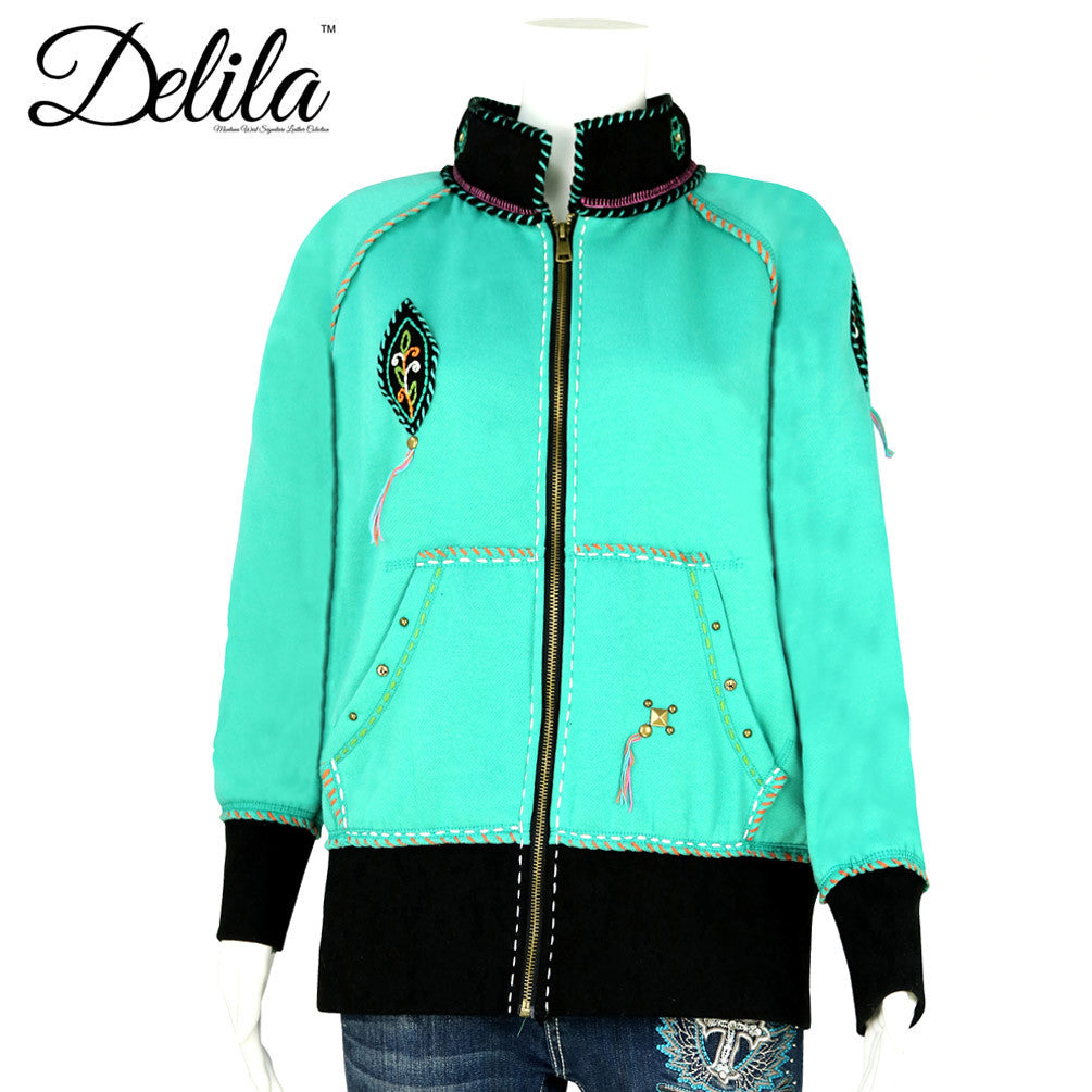 ... FS-607 Delila Hand Embroidered Fleece Jacket Floral Medallion Collection