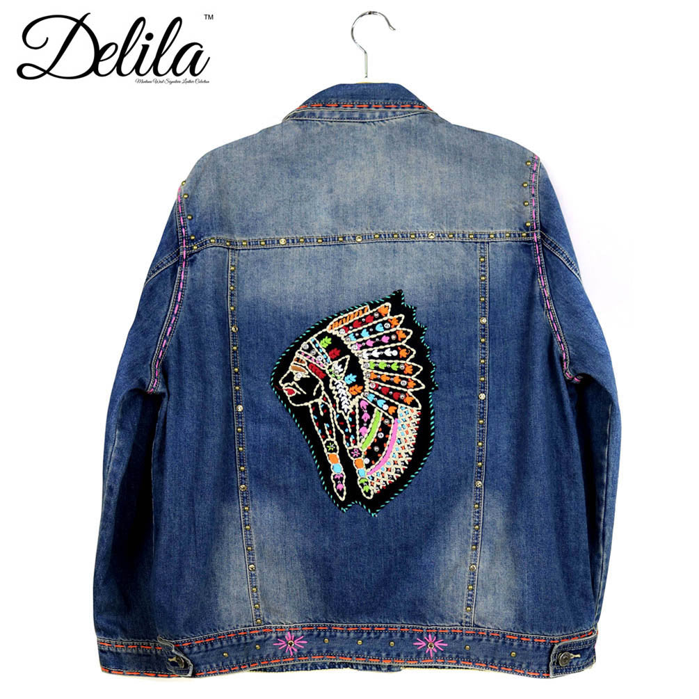 Jjk delila hand embroidered jacket indian chief