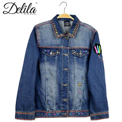 JJK-601 Delila Hand Embroidered Jacket Indian Chief Collection Denim-Size L