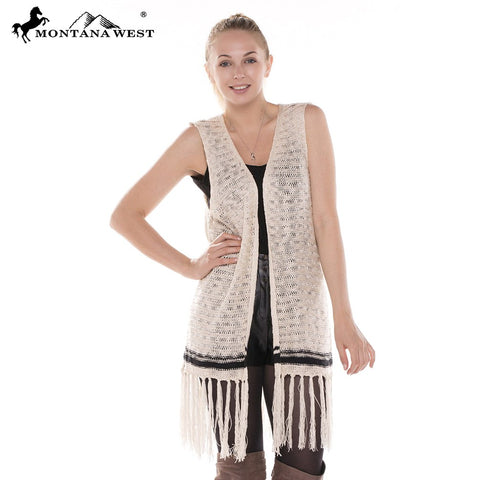 JP330 Ladies Crochet Vest with Fringe