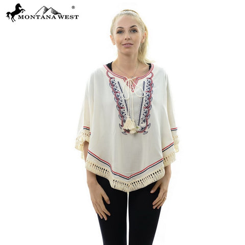 JP617 Embroidered Tunic Poncho with Tassel