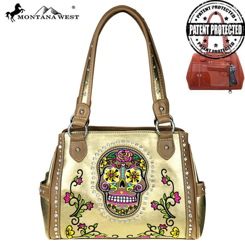 MW255G-8036 Montana West Sugar Skull Collection Concealed Handgun Satchel