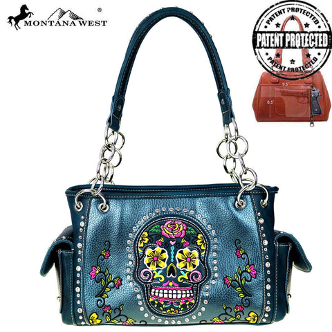 MW255G-8085 Montana West Sugar Skull Collection Concealed Handgun Satchel