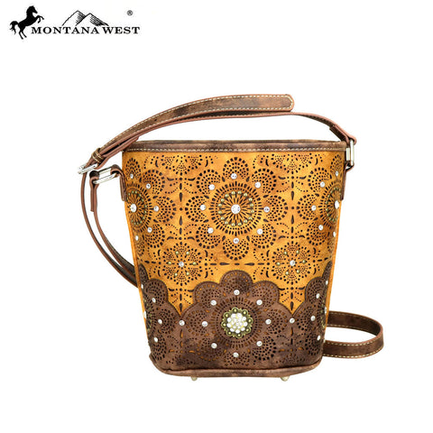 MW393-8287 Montana West  Concho Collection Bucket Shape Crossbody