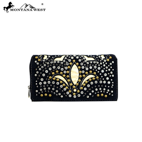 MW406-W010 Montana West Bling Bling Collection Secretary Style Wallet