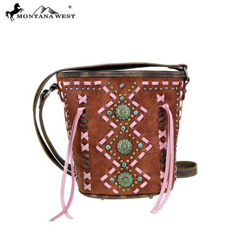MW408-8296 Montana West Concho Collection Bucket Shape Crossbody Bag