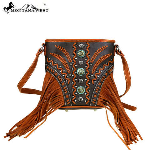 MW420-8296 Montana West Fringe Collection Bucket Shape Crossbody Bag