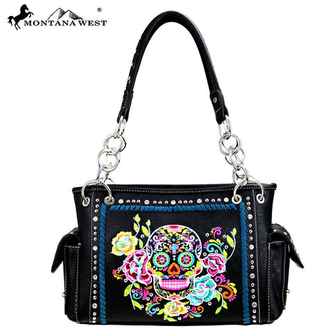MW457-8085 Montana West Sugar Skull Collection Satchel