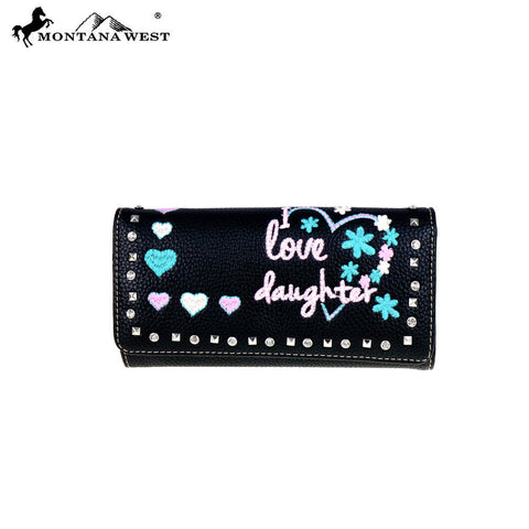 "MW506-W002 Montana West Heart Collection "" I Love Daughter"" Wallet"