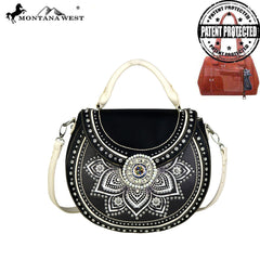 MW523G-8101  Montana West Concho Collection Concealed Handgun Half Moon Tote/Crossbody