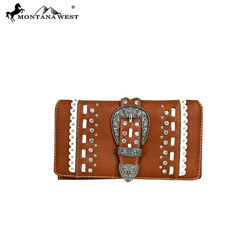 MW536-W010 Montana West Buckle Collection Secretary Style Wallet