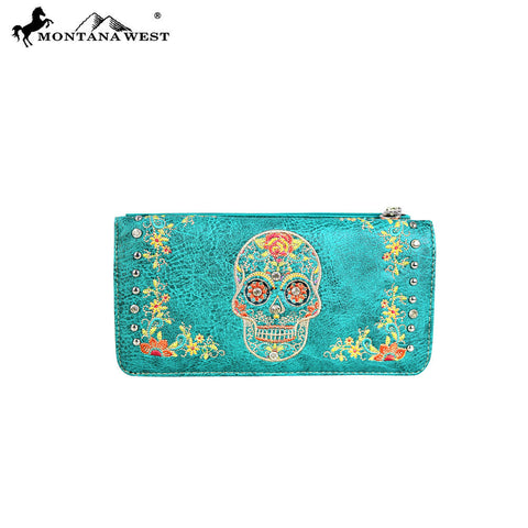 MW562-W021 Montana West Sugar Skull Collection Wallet