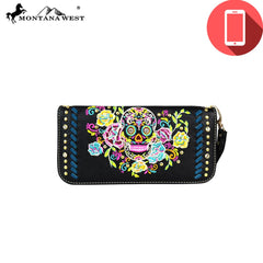 PW457-W016 Montana West Phone Charging Sugar Skull Collection Clutch Wristlet