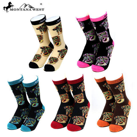SK-001 Montana West Indian Chief Collection Sock Assorted Color (6pcs/Box)