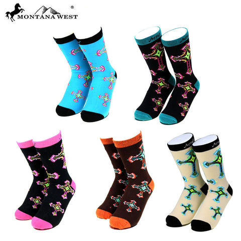 SK-002 Montana West Spiritual Collection Sock Assorted Color (6pcs/Box)
