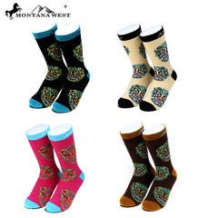 SK-003 Montana West Sugar Skull Collection Sock Assorted Color (6pcs/Box)