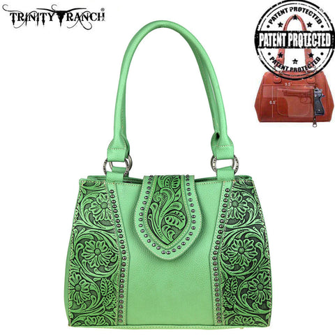 TR39G-8392 Trinity Ranch Tooled Leather Collection Concealed Handgun Satchel