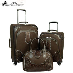 WRL-L1/2/3 Montana West Tooled Leather Collection 3 PC Luggage Set-Coffee