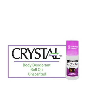 Crystal Body Deodorant Roll On - Unscented - BiosenseClinic.ca