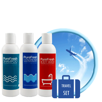 PureFresh Travel Set Package - Shampoo 60 ml, Conditioner 60 ml, Body Wash 60 ml - BiosenseClinic.ca
