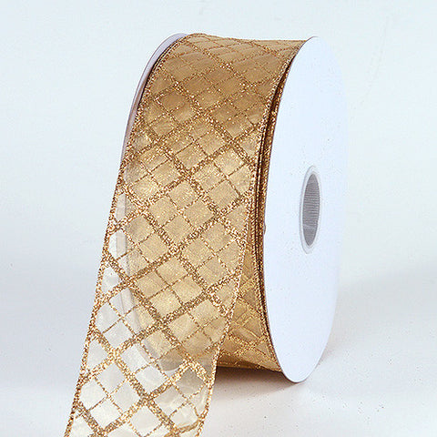 Christmas Ribbon Gold ( 1-1/2 Inch x 50 Yards ) -