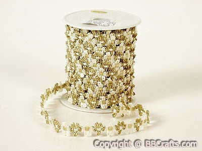 Flower Braid Ivory with Gold Edge ( Unisize ) -