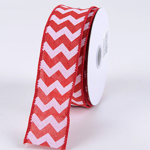 Chevron Canvas Wired Edge Red ( 2-1/2 inch | 10 Yards ) -