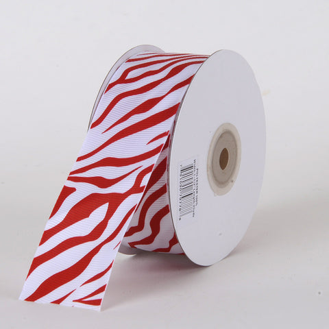 Grosgrain Ribbon Animal Print Red ( W: 5/8 inch | L: 25 Yards ) -