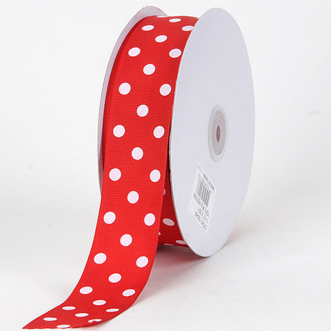Grosgrain Ribbon Polka Dot Red with White Dots ( W: 3/8 inch | L: 50 Yards ) -