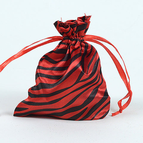 Animal Print Satin Bags Red ( 5x7 Inch - 10 Bags ) - Ribbons Cheap