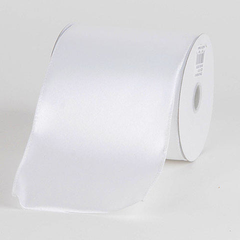 Satin Ribbon 4 Inch Double Faced Wired White ( W: 4 inch | L: 10 Yards ) -
