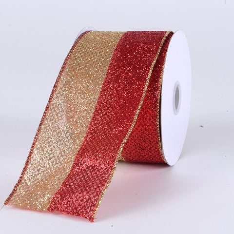 Christmas Ribbon Red with Gold ( 2-1/2 Inch x 10 Yards ) -