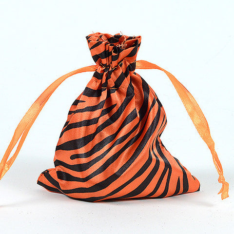 Animal Print Satin Bags Orange ( 4x5 Inch - 10 Bags ) - Ribbons Cheap