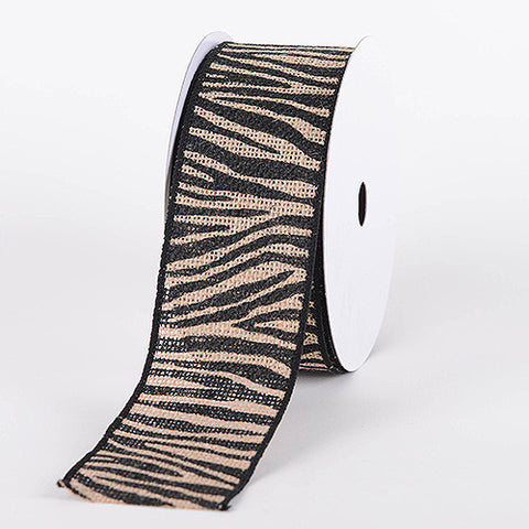 Animal Printed Burlap Ribbons Zebra ( W: 1-1/2 inch | L: 10 Yards ) - Ribbons Cheap