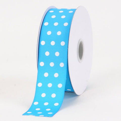 Grosgrain Ribbon Color Dots Turquoise with White Dots ( 1-1/2 inch | 25 Yards ) -