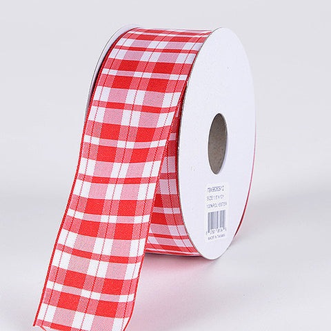 Gingham Ribbon Wired Edge Red ( 1-1/2 Inch x 10 Yards ) -