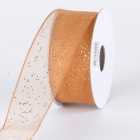 Organza Ribbon with Glitters Wired Edge Old Gold ( W: 1-1/2 inch | L: 25 Yards ) -