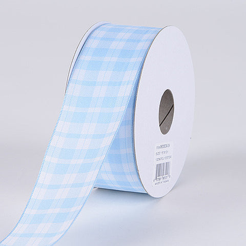Gingham Ribbon Wired Edge Light Blue ( 1-1/2 Inch x 10 Yards ) -