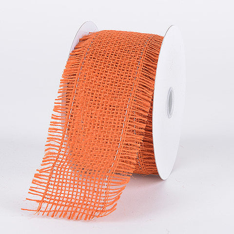 Frayed Edge Burlap Wired Edge Orange ( 5-1/2 Inch | 10 Yards ) -