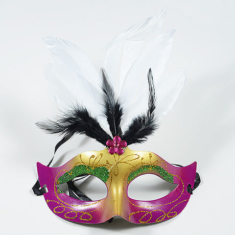 Masquerade Masks Fuchsia with Gold ( 1 Mask ) -