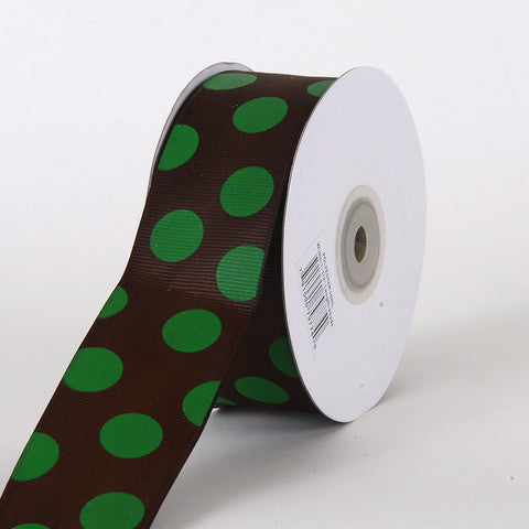 Grosgrain Ribbon Jumbo Dots Chocolate with Green Dots ( W: 1-1/2 inch | L: 25 Yards ) -