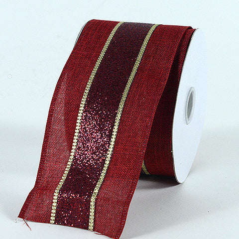 Christmas Ribbon Burgundy ( 2-1/2 Inch x 10 Yards ) -