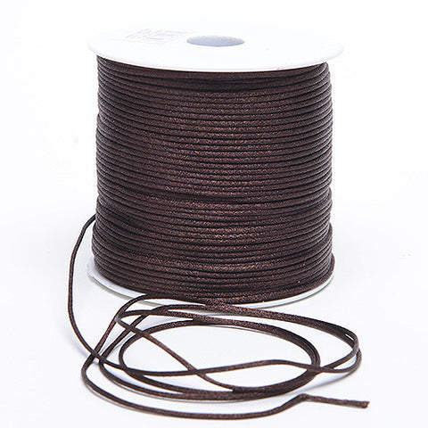 2mm Satin Rat Tail Cord Chocolate Brown ( 2mm x 100 Yards ) - Ribbons Cheap