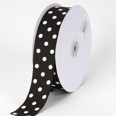 Grosgrain Ribbon Polka Dot Black with White Dots ( 1-1/2 inch | 50 Yards ) -