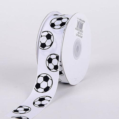 Grosgrain Ribbon Sports Design Soccer ( W: 1-1/2 inch | L: 25 Yards ) -