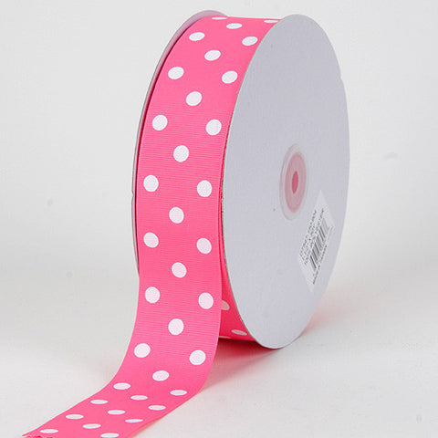 Grosgrain Ribbon Polka Dot Hot Pink with White Dots ( 7/8 inch | 50 Yards ) -